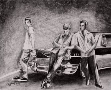 57 Chevy Crew- Original: 11X 14 Charcoal, ink , and graphite : $195