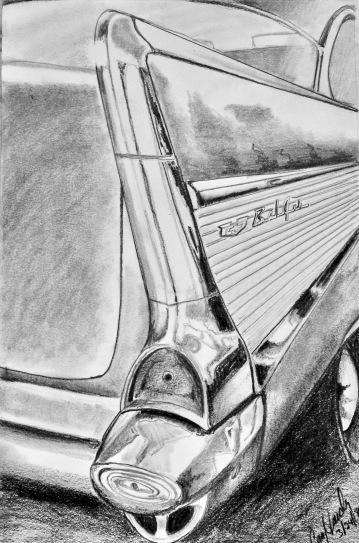 57 Chevy-original graphite 12X8- $85